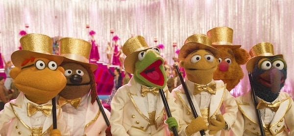 """Disney's """"MUPPETS MOST WANTED"""" - (L-R) SCOOTER, ROWLF, KERMIT, WALTER, FOZZIE and GONZO. ©2013 Disney Enterprises, Inc. All Rights Reserved. Photo by: Jay Maidment"""