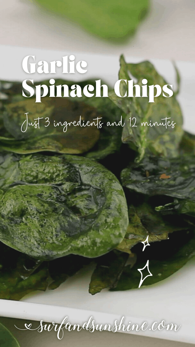 Vertical Baked Garlic Spinach Chips Recipe