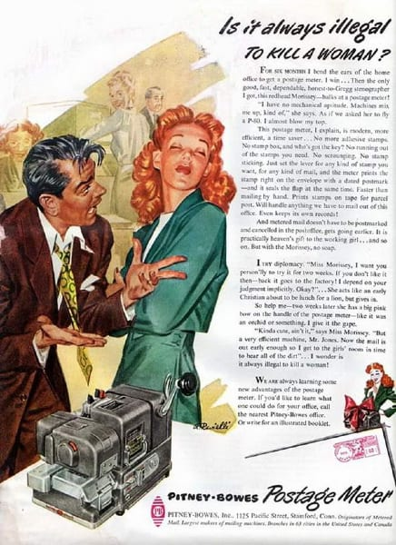 pitney bowes vintage ad is it always illegal to kill a woman