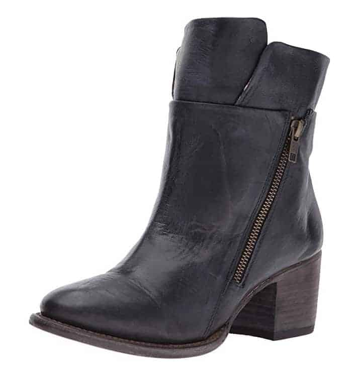 Black leather zip up ankle combat boots trendy boots for fall