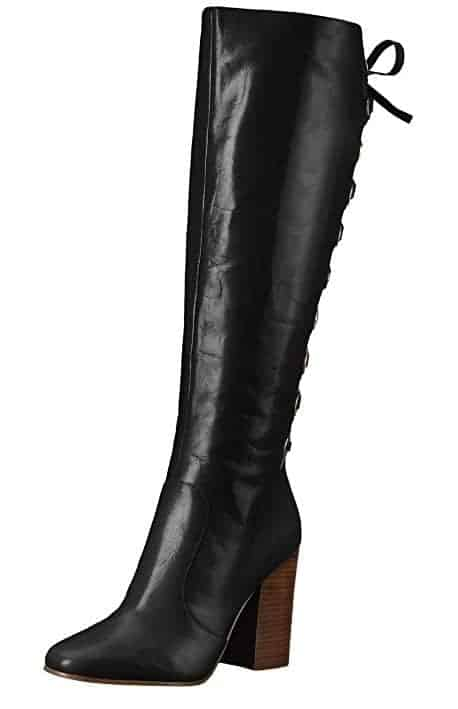 Designer black riding boots with lace up detail trendy boots for fall