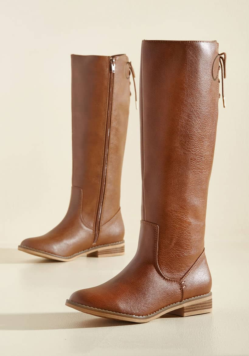 caramel tall riding boot with zippers trendy boots for fall
