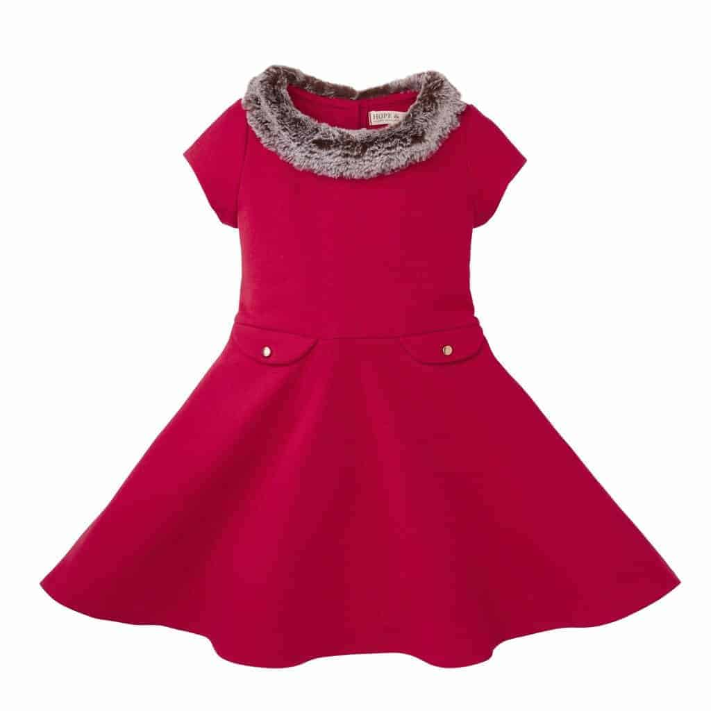ponte skater dress with faux fur collar red 6 12 months hope and henry girls organic