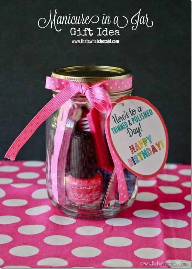 Manicure in a jar Birthday Gift Idea at thatswhatcheaid.net thumb