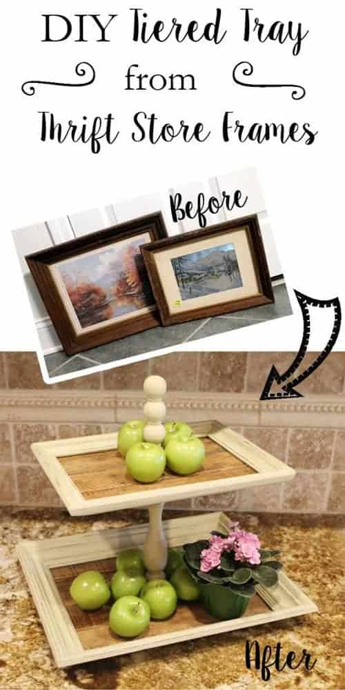 diy picture frame tiered tray