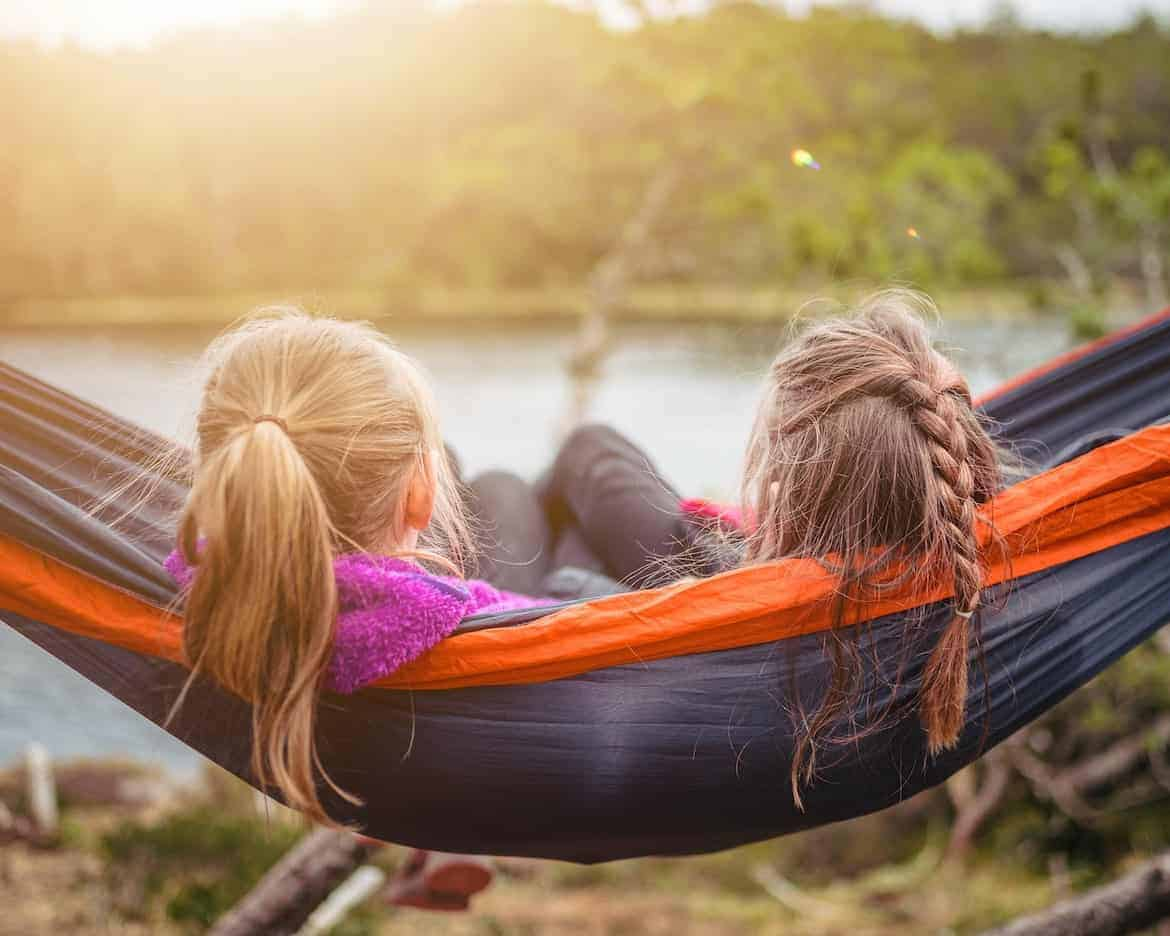 camping with kids in hammock