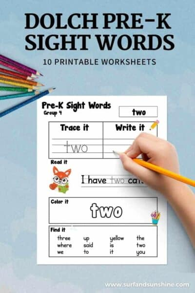 Dolch Sight Words Pre K Printable Worksheets