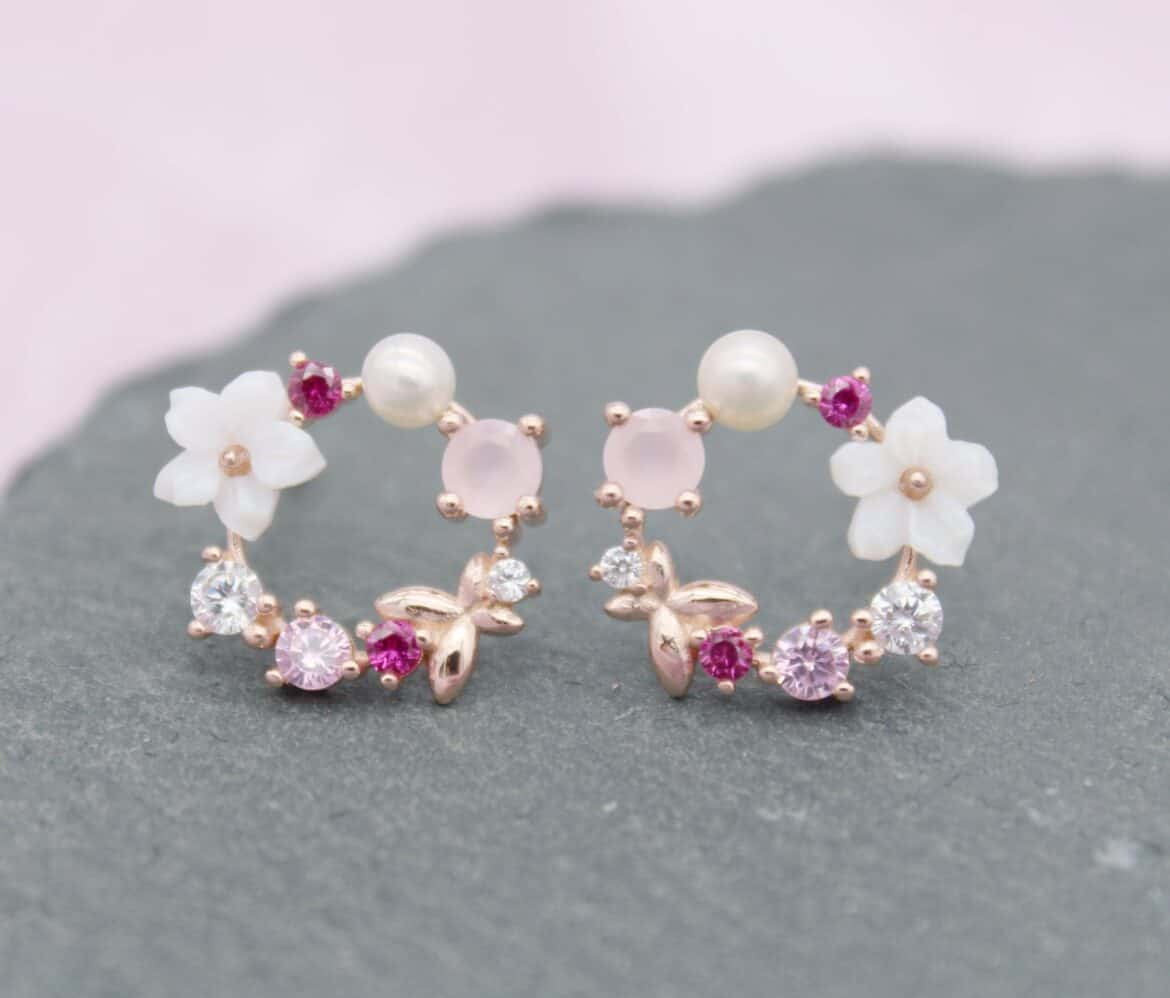 Dainty Rose Gold Flower Pearl Stud Earrings Hand Crafted Wedding Day Bridal Jewelry Ideas