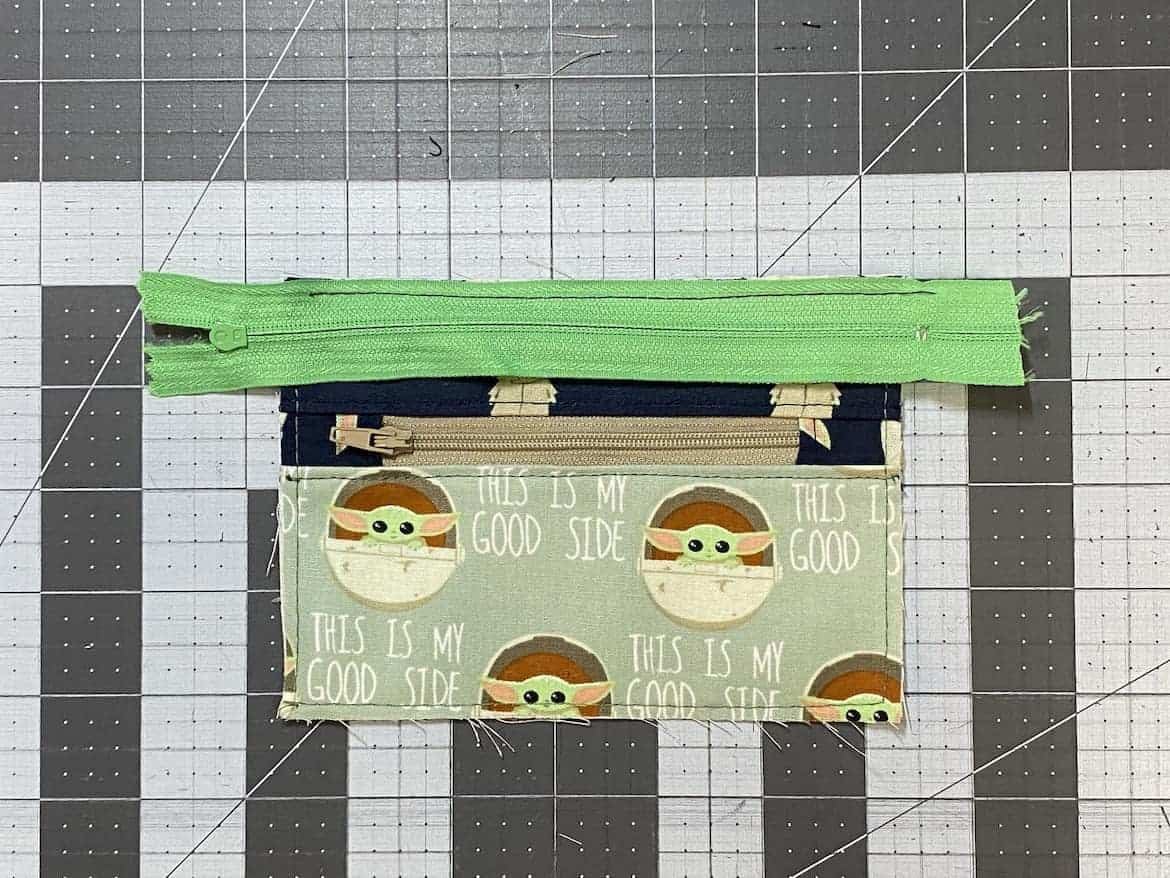 Two Zip Coin Purse Sewing Tutorial with Keyring baste