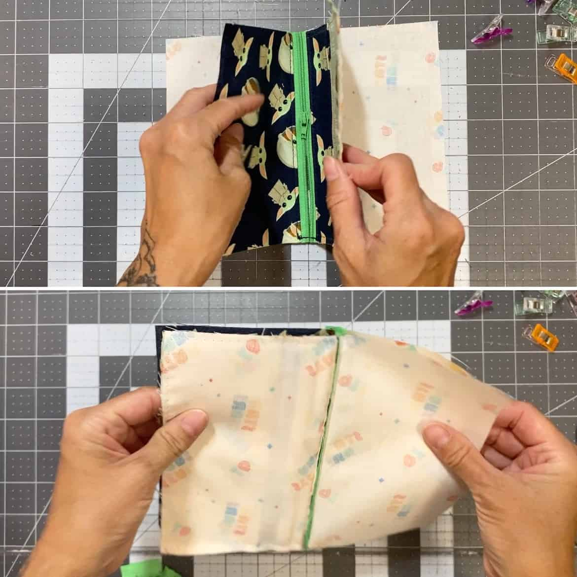 Two Zip Coin Purse Sewing Tutorial with Keyring trim zipper match sides