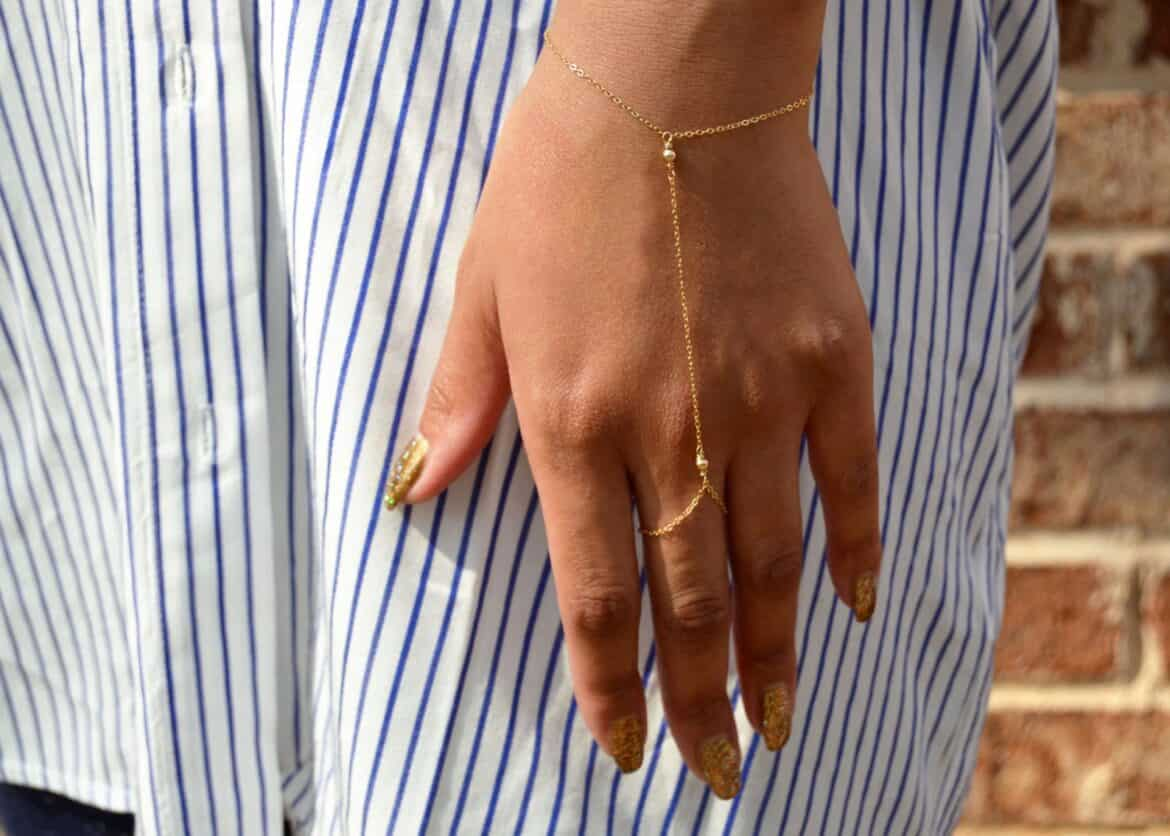 Simply Happy Gold Hand Chain Bracelet  Hand Crafted Wedding Day Bridal Jewelry Ideas