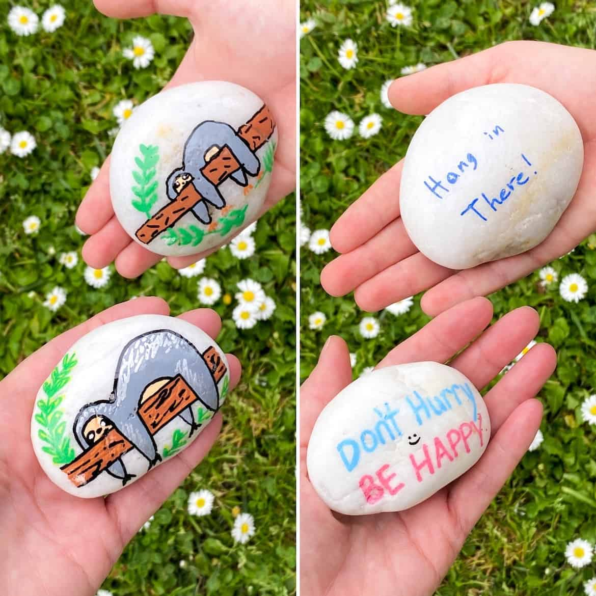 sloth kindness rock painting