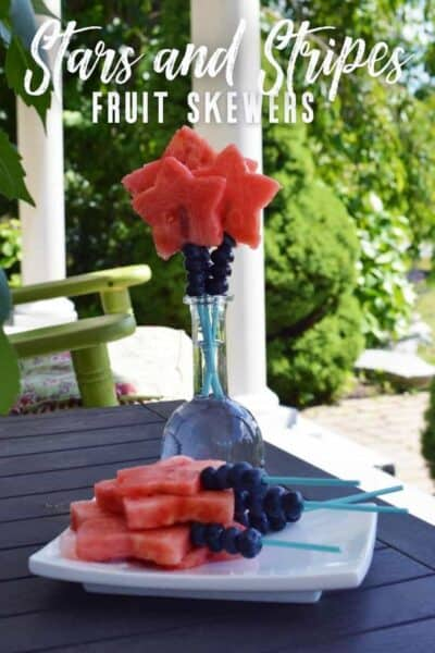 stars and stripes fruit skewers