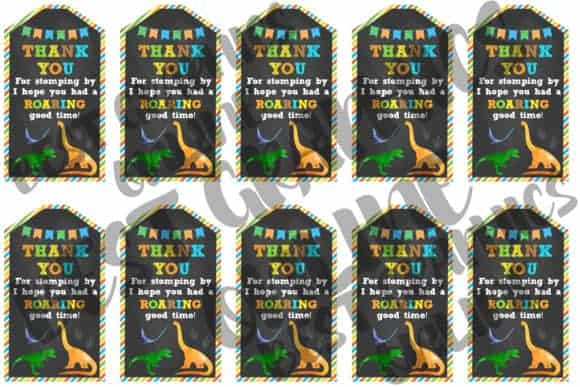 Dinosaur Thank You Party Favor Tags