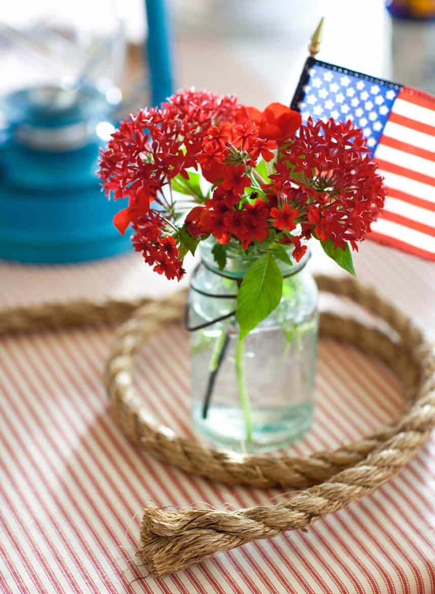 Fourth of July floral centerpiece