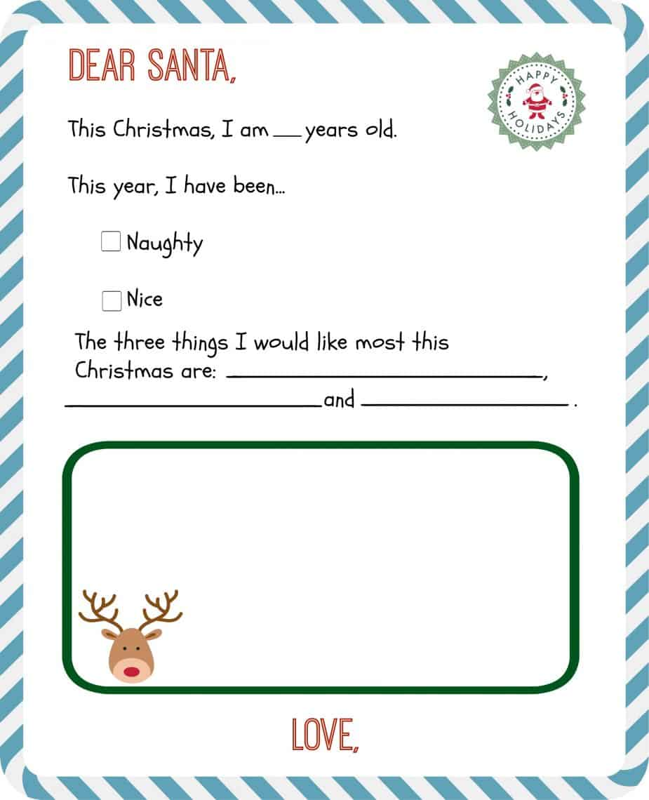 """The """"Early Spellers"""" Free Printable Letter to Santa"""