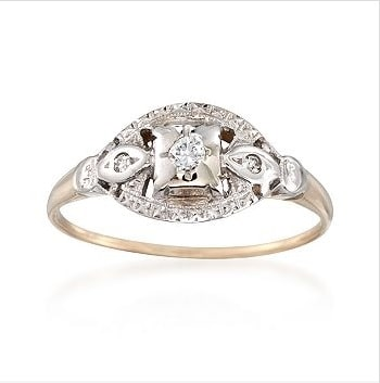 C. 1950 Vintage Diamond 3-Stone Engraved-Top Ring in 14kt Two-Tone Gold – $521.25