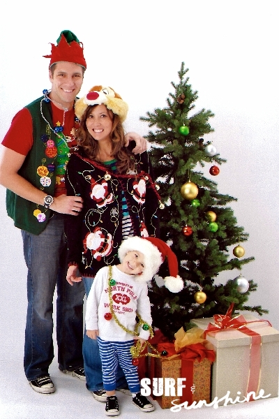 Ugly christmas sweater family photo