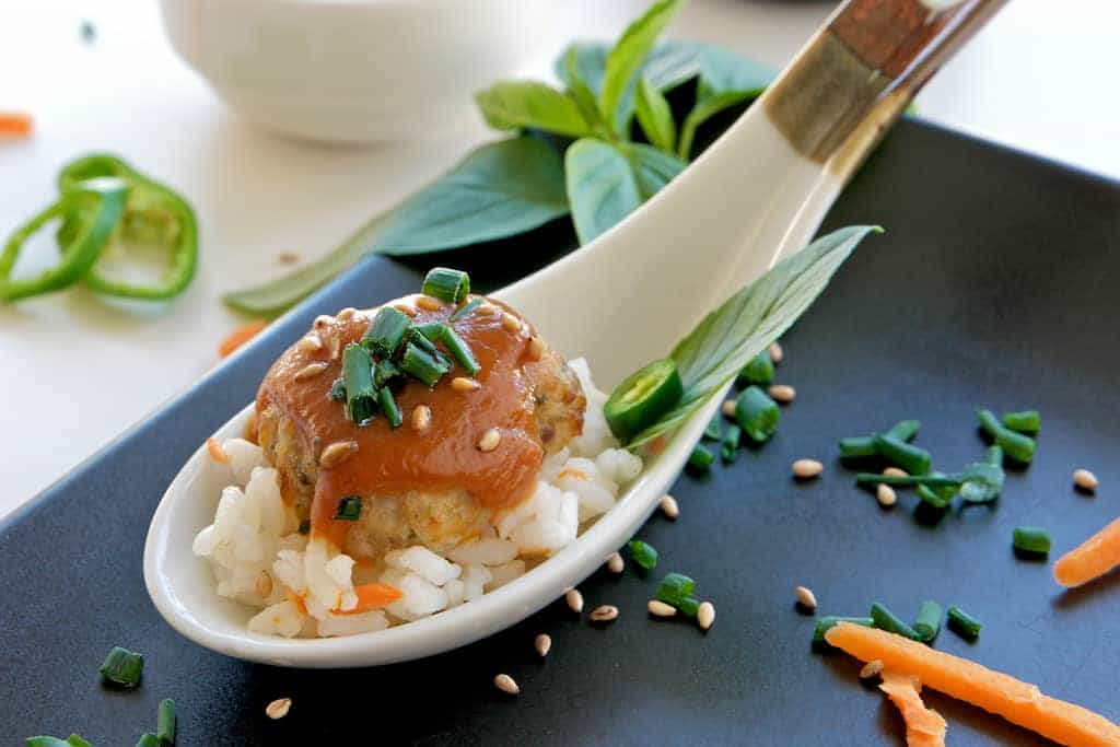 spicy asian meatballs and rice 3